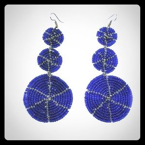 Jewelry - Blue Maasai Beaded Multi Disc Earrings